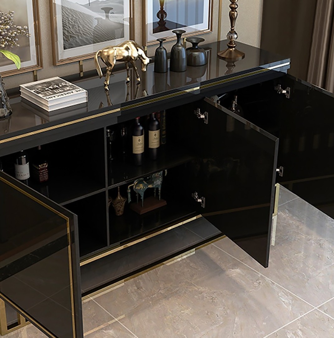 QATAR Black Gold Gloss Sideboard console cabinet Table
