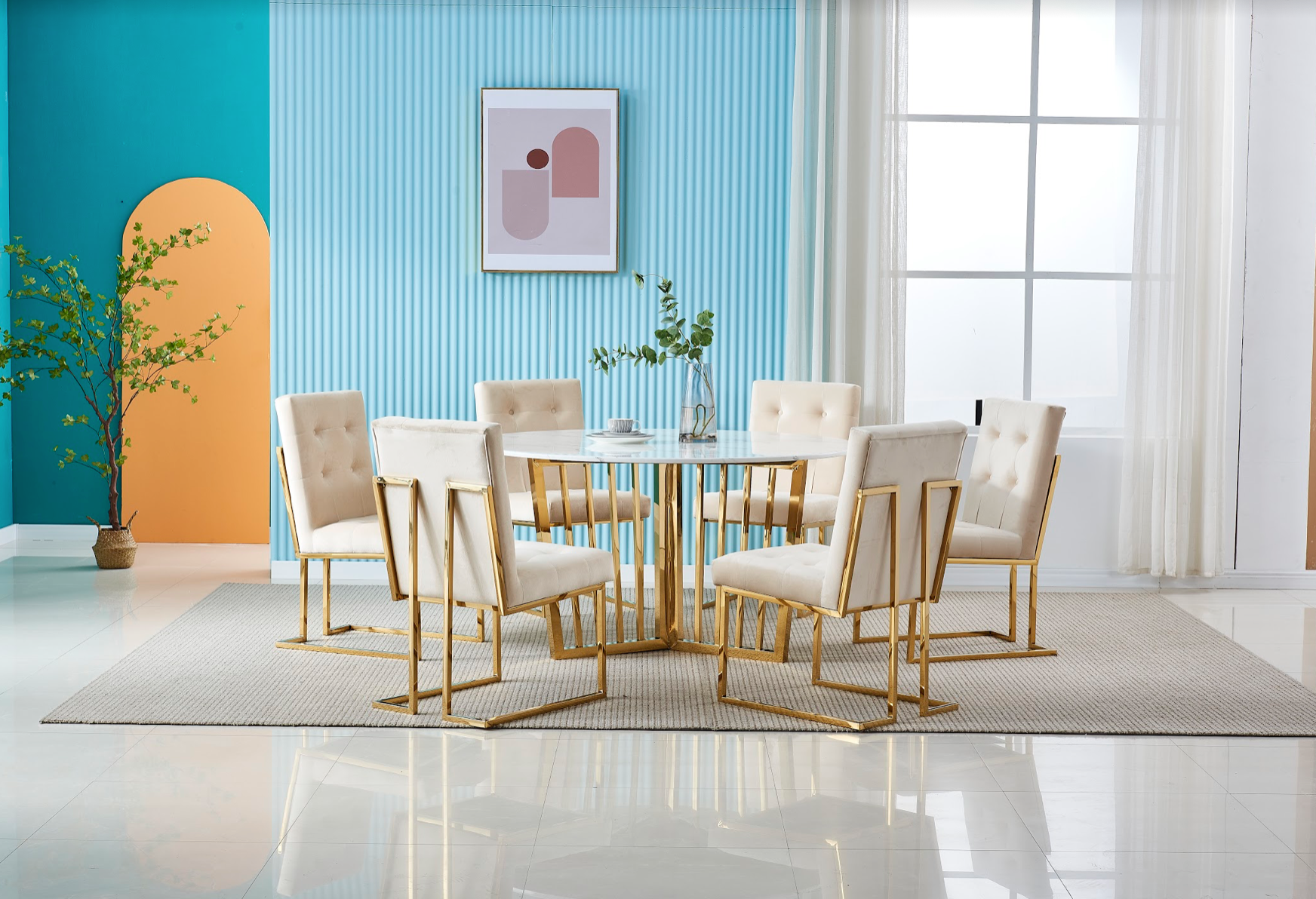 Doha Dining Set Ivory and Gold chairs with Round Marble Table