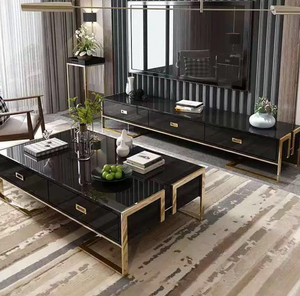 Qatar black gloss and gold tv stand and coffee table set
