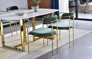 Bahrain dining set with emerald green gold dining chairs