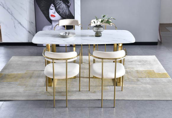 Doha rectangle dining table with Bahrain Ivory and Gold dining chairs