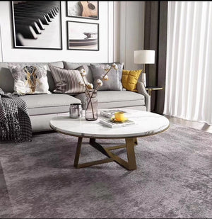 Gold & marble round grand coffee table