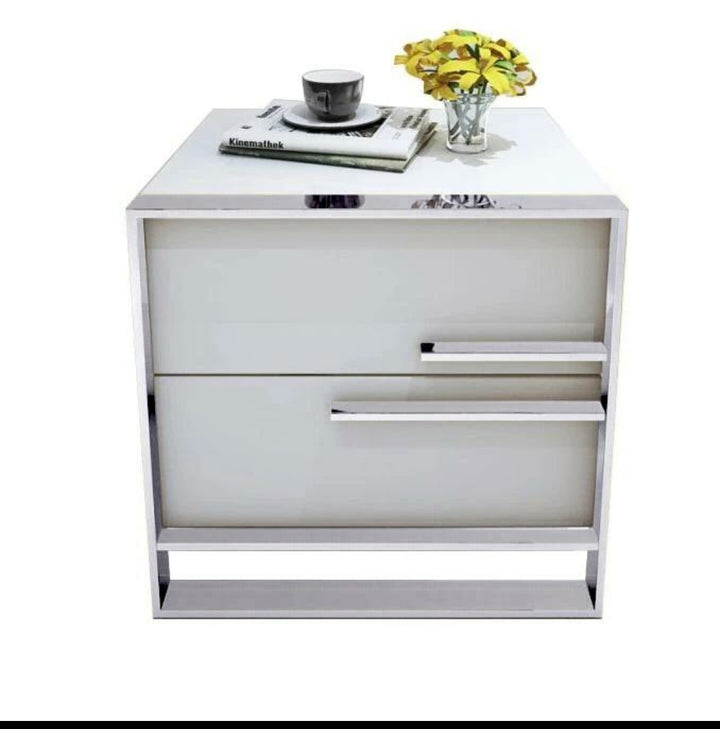 White gloss and silver bedside table with drawers