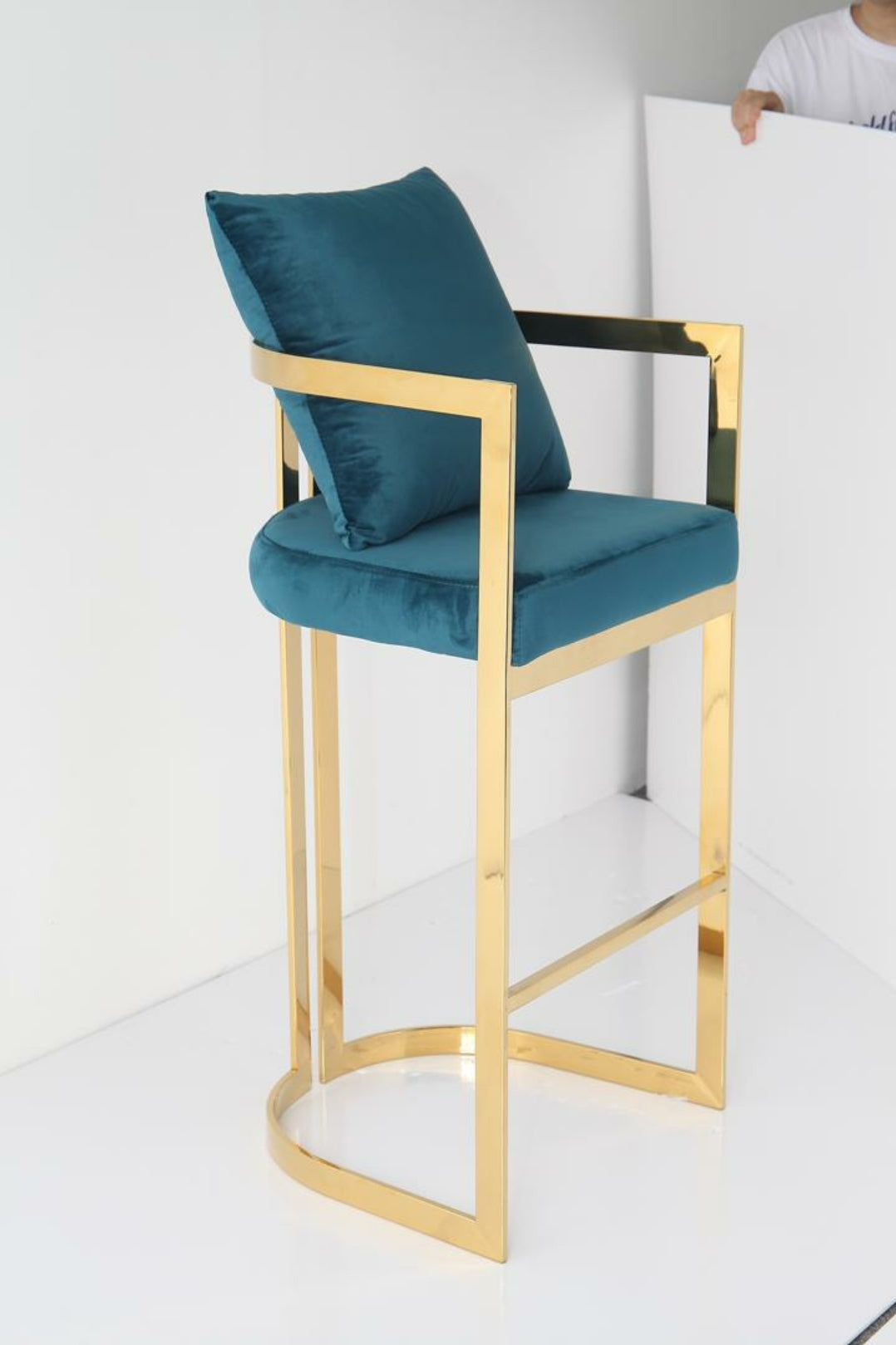 KATIE bar stools Gold and Teal green