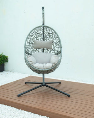 Grey hanging egg chair. grey cushion
