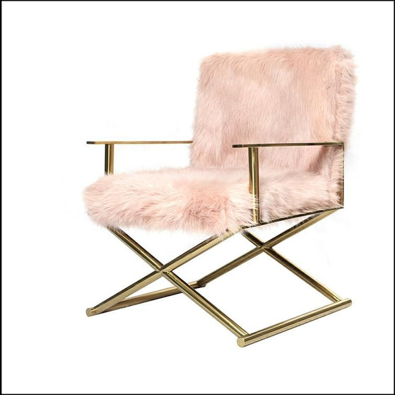 Faux Sheepskin fur directors chair dressing room chair Pink/Gold