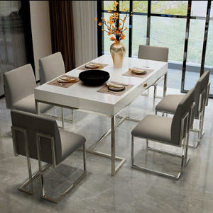 Kuwait Dining Table Modern White silver chrome polished legs