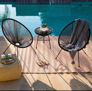 Santorini string chair and table egg string chairs