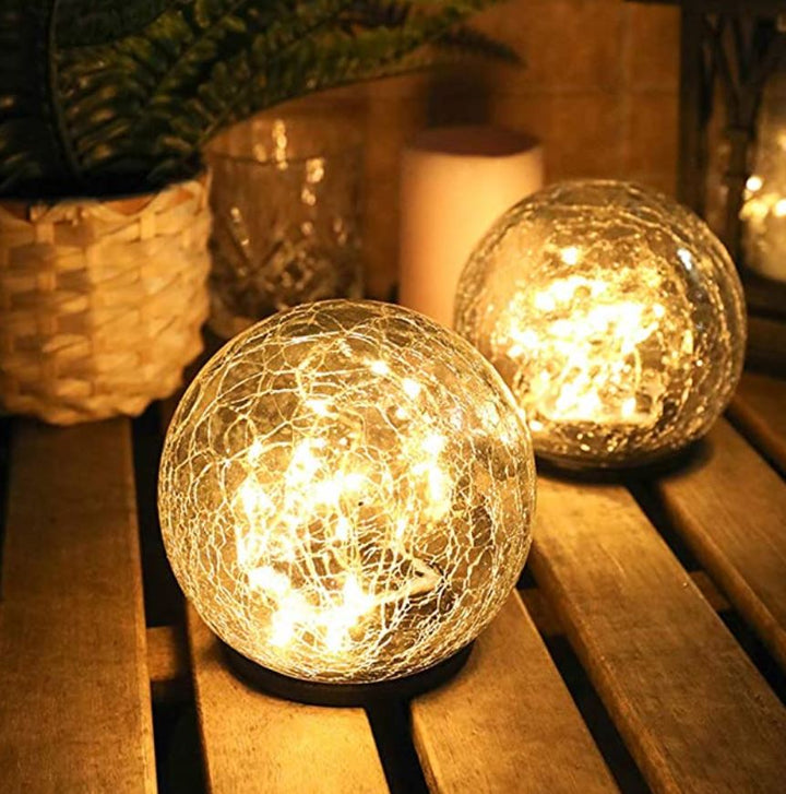 Cracked Glass Solar Dome Lights