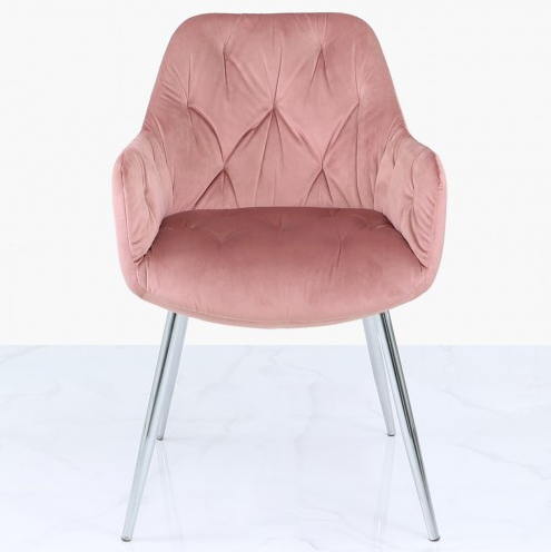 Stella Rose Pink Velvet Dining Chair