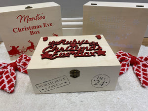 Christmas Eve Boxes Personalised wooden xmas eve box