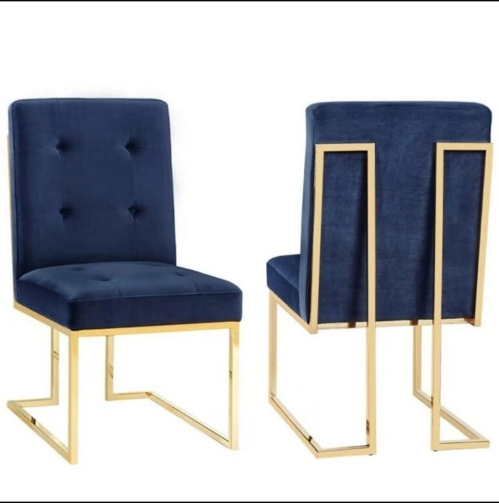 Pair of Doha square dining chairs Modern gold polished legs fabric finish