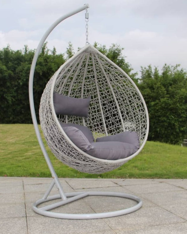 BRIQ Egg Chair grey hanging egg chair wicker hammock garden swing seat