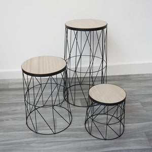 Black wire and wood geometric set of 3 tables