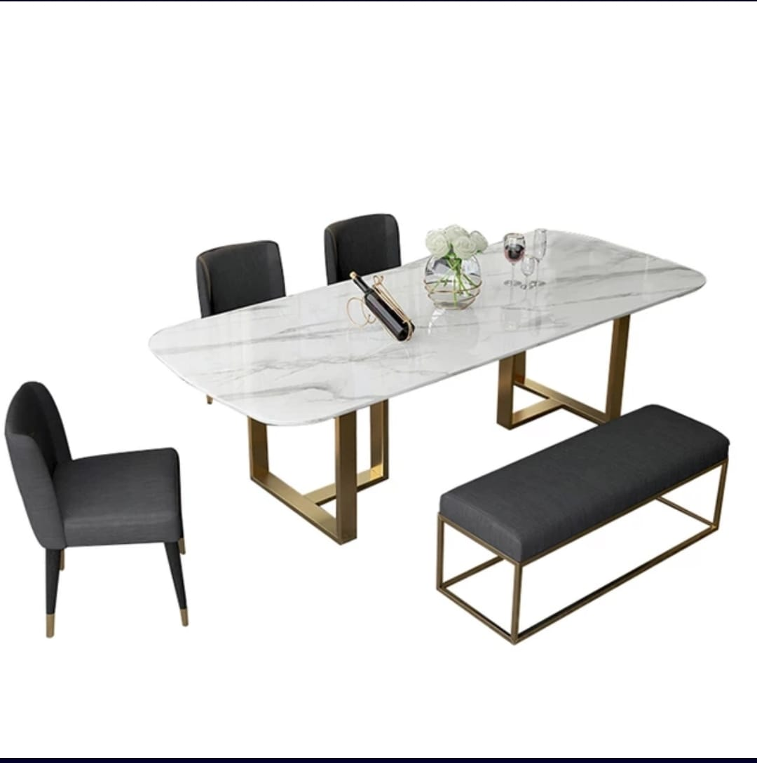 Rectangular DOHA marble top dining table with gold legs