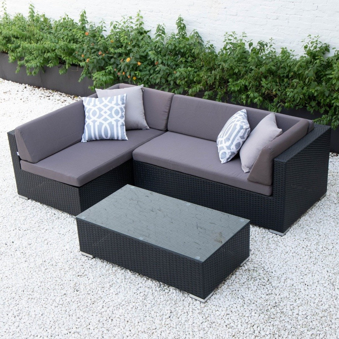 Kairo Outdoor sofa set table wicker rattan aluminium garden furniture Small L Shape
