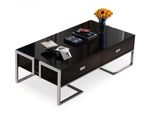 QATAR Coffee Table With Glass Top in Black Silver