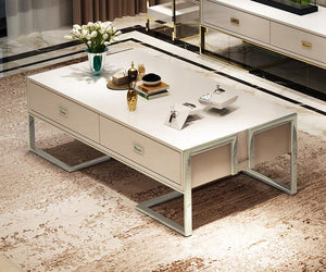 QATAR Coffee Table With Glass Top in White Silver