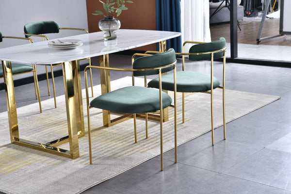 Bahrain velvet pair of dining chair with gold finish -  Emerald green & gold