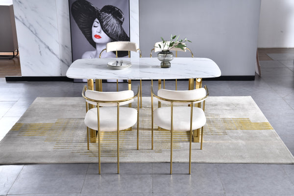 Bahrain velvet pair of dining chairs with gold finish - Ivory & Gold