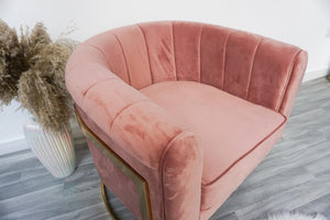 Velvet modern gold and blush pink occasional chair dressing room chair