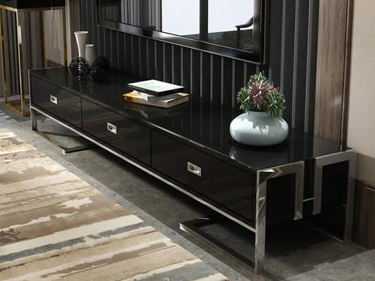Qatar tv unit stand in black gloss and silver