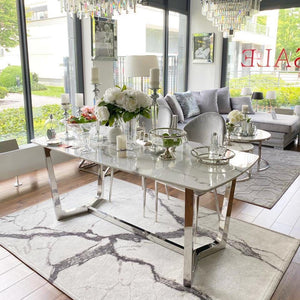 LONDON Dining Table White & silver set