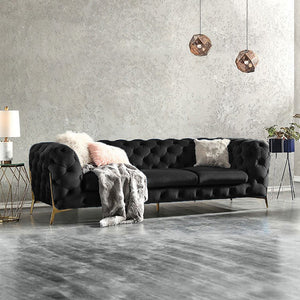 Black BRIQ Velvet chesterfield sofa velvet tufted couch samar sectional sofa