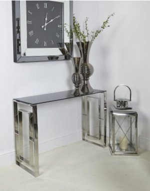 Silver & Smoked Glass Console Table