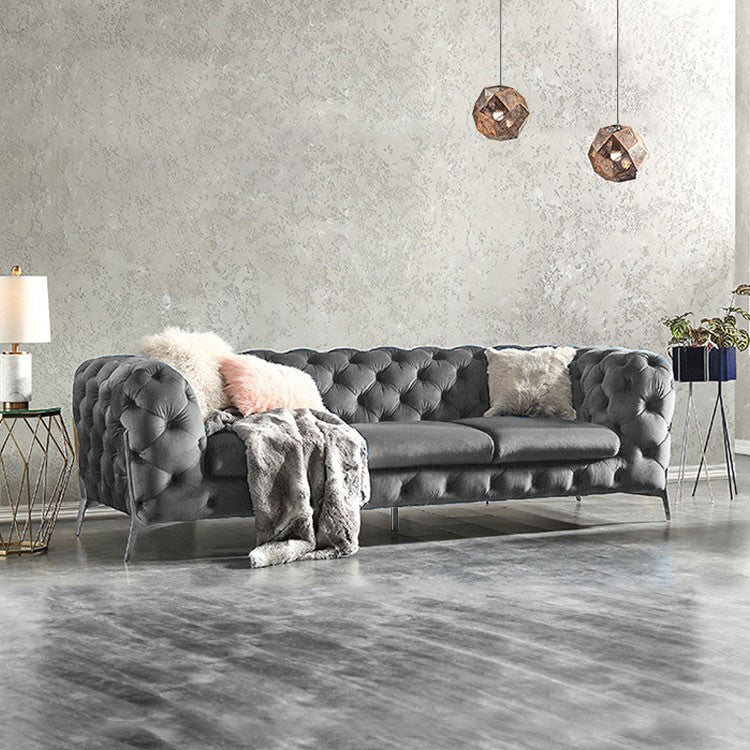 Smoke Grey  BRIQ chesterfield sofa velvet tufted couch samar sectional sofa