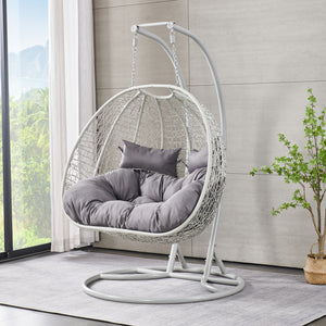 BRIQ Double Egg Chair Light grey 2 seater garden swing seat