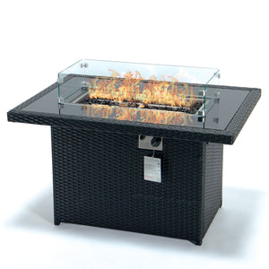 Kairo Outdoor firepit garden fire pit table wicker rattan