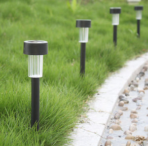 LED Solar Powered Garden Path Lights - Black & Stainless Steel