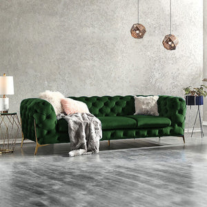Forest Green BRIQ Contemporary Velvet chesterfield sofa velvet tufted couch samar sectional sofa