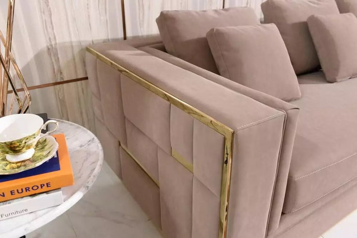 Amalfi Blush gold seater sofa with metal detail