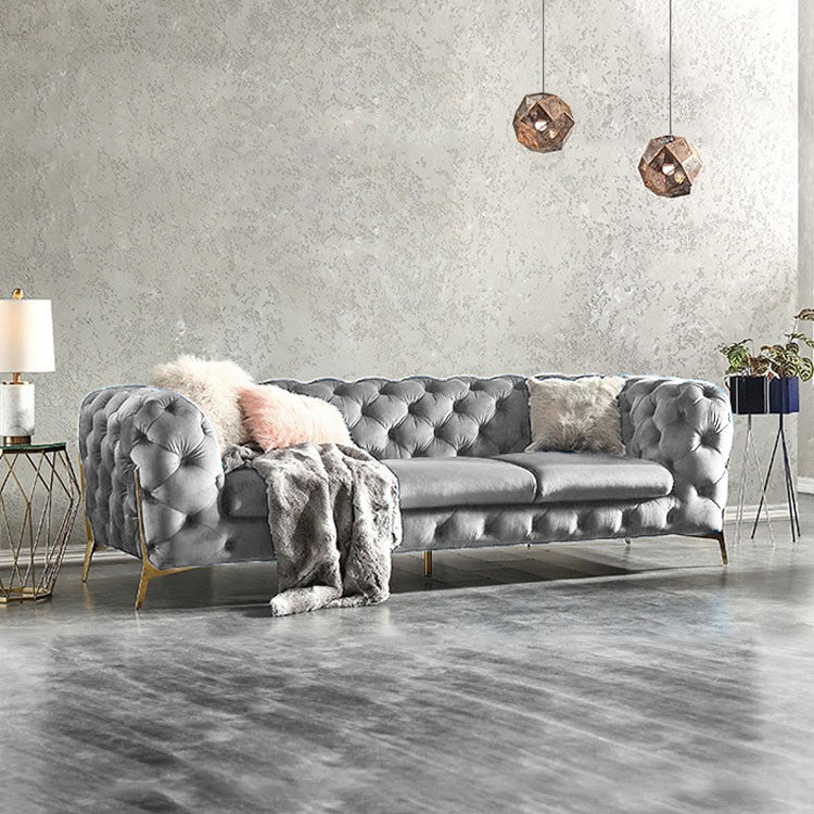 Silver Grey BRIQ Chesterfield sofa velvet tufted couch samar sectional sofa