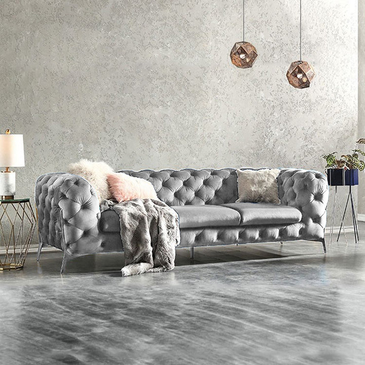 Silver Grey Bespoke BRIQ Chesterfield sofa velvet tufted couch samar sectional sofa
