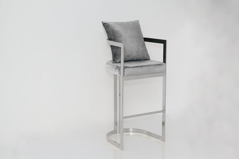 KATIE bar stool Silver Grey and Silver
