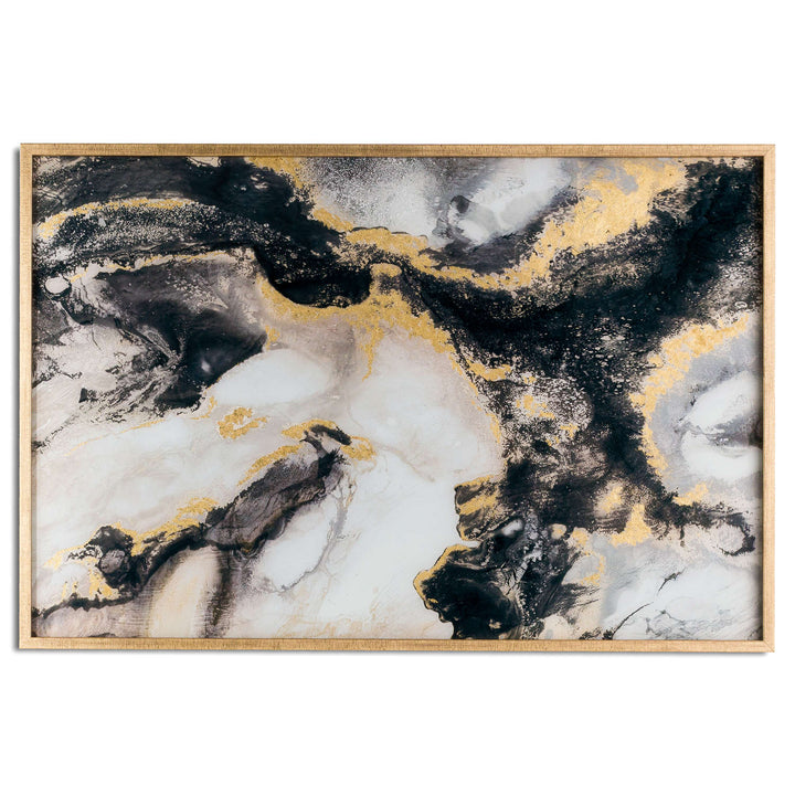 Marble glass black and gold wall art hanging painting