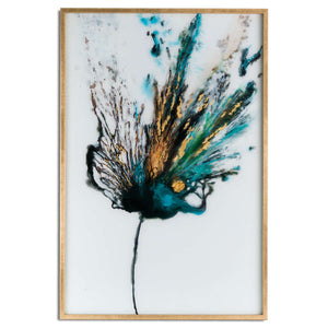 Large Gold teal blue peacocok colour explosion art wall art glass