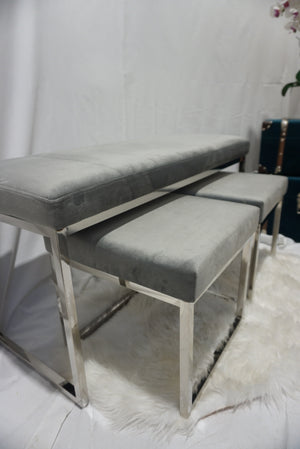 Grey and silver dining bench and stools seat set