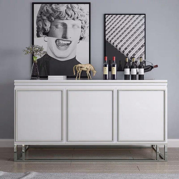 QATAR Silver White Gloss Sideboard Table