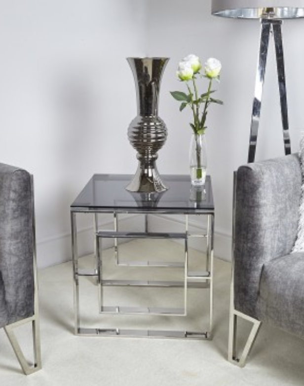 Silver & Smoked Glass Side/ End Table