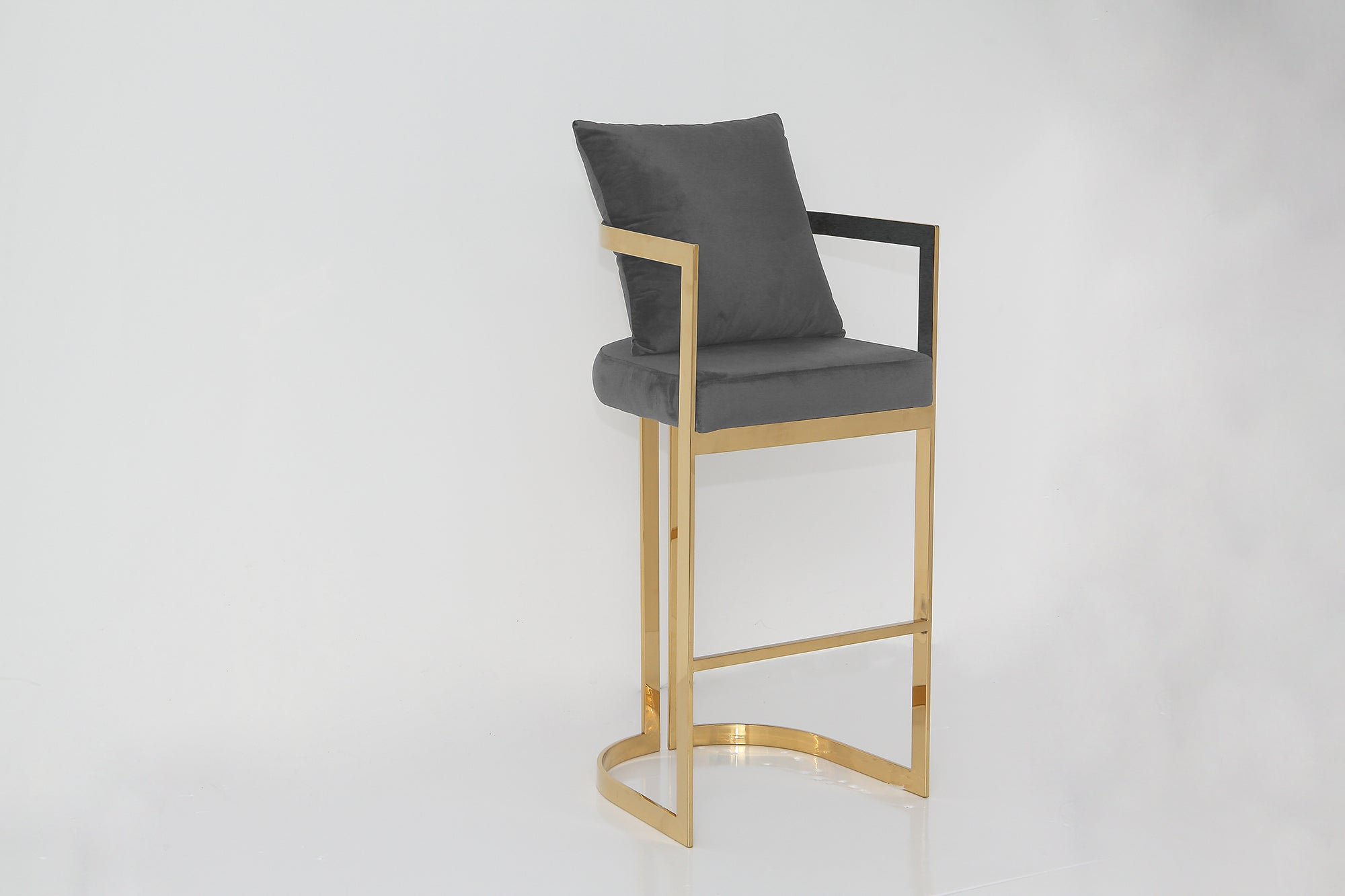 KATIE bar stool Smoke Grey and Gold