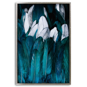 Teal & silver Feather Glass wall art image in silver frame