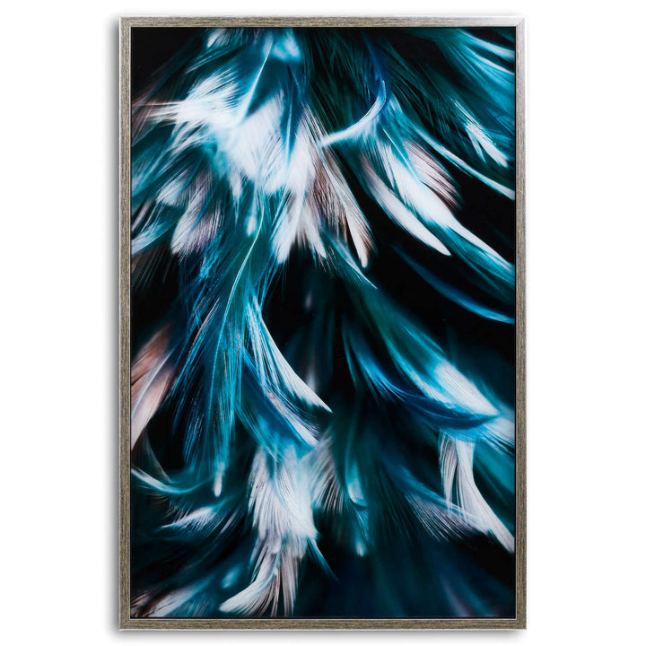 Teal Feather Glass wall art image in silver frame