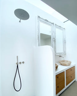 Shower set with 2 wall mounted mixers, head shower & hand shower.