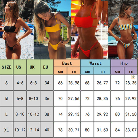 Sexy Brazilian Push Up Padded + Thong Bikini Swimsuit Swimwear Beachwear Set