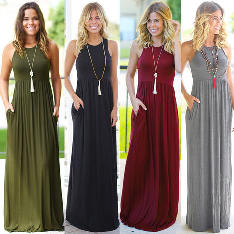 Long Boho Beach Sleeveless Pocket Maxi Dress