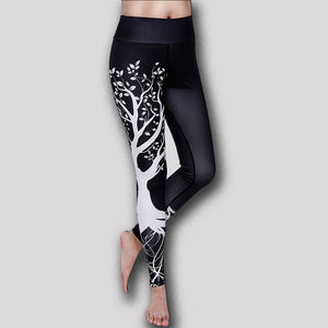 Women's Sexy Printed Tree Design Fitness Yoga Leggings + Dry Fit Gym Pants